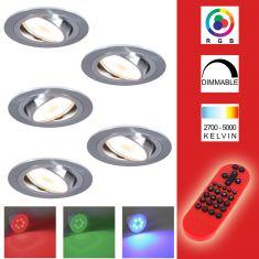 5-er Set RGB LED-Decken-Einbaustrahler, Metall, Aluminium, rund,schwenkbar, inkl. Fernbedienung