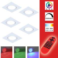 5-er Set RGB LED-Einbaustrahler alu, eckig  inkl. Fernbedienung