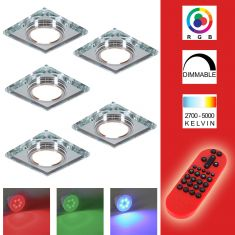 5-er Set RGB LED-Einbaustrahler Glas Silber, eckig inkl. Fernbedienung
