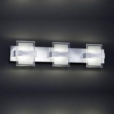 LED-Wandleuchte in Chrom und Glas, 3-flg, 55 cm