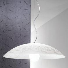 Pendelleuchte mit weißem Schirm und floralen Mustern - in 56cm oder 42cm Durchmesser wählbar- 120cm Abhängung