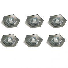 6er-Set Einbauleuchten hexagonal in Eisen-gebürstet IP44 inklusive Leuchtmittel und Trafo