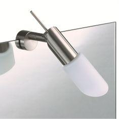 Moderner Halogenstrahler  - Spiegelklemm-Leuchte - Nickel-matt oder Chrom - Opalglas matt