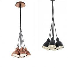 7-flammige Pendelleuchte im Trend-Design - in Kupfer oder Schwarz