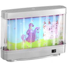Tischleuchte Deko-Aquarium, Motiv Prinzessin mit Pferd, inklusive Leuchtmittel 10W T4