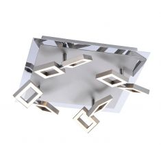 8-flammige LED-Deckenleuchte im eckigen Design - Nickel-matt - mit 8 x LED-Board 2,5W, je 230lm - 3000°K warmweiß