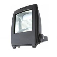 Schwenkbarer LED-Baustrahler aus grauem Aluminium mit Klarglas inklusive LED-Leuchtmittel - 100W