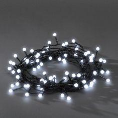 LED - Globelichterkette - 160 runde Dioden - 24V Außentrafo - 8 Funktionen - Steuergerät und Memoryfunktion - kalt weiß kaltweiß