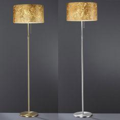 Moderne Stehleuchte - Schirm Blattgold - 2 Oberflächen - Exklusive Leuchtmittel - Mit Zugschalter