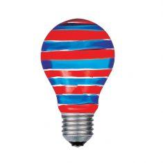 A60 AGL  E27 40W rot/blau Quer gestreift, Glühbirne