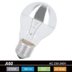 A60 E27 Leuchtmittel kopfverspiegelt in Silber - 40W 1x 40 Watt, 40 Watt, 360,0 Lumen