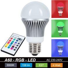 A60 RGB 4Watt LED Leuchtmittel mit Fernbedienung