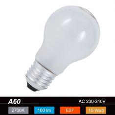A60  E27 15W matt  2700K 230V 90lm 360° dimmbar stoßfest