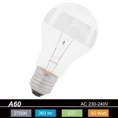 A60-RS E27 Glühlampe Ringverspiegelt in Silber - 40W