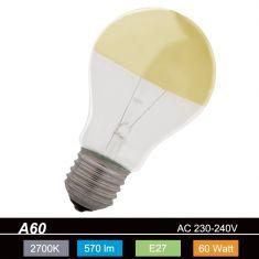 A60, E27, Leuchtmittel kopfverspiegelt in Gold, 60 Watt