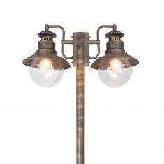 Antike Mastleuchte in Schwarz-Gold - Höhe 205cm - IP 44
