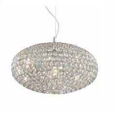 aparte Pendelleuchte mit Kristallglas in 50cm Durchmesser 8x 40 Watt, 35,00 cm, 50,00 cm, 125,00 cm