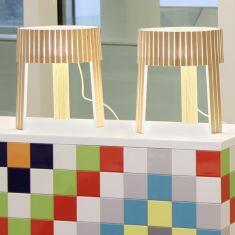 Arturo Alvarez Dreibein Tischleuchte Shio - 3 Holzfarben wählbar