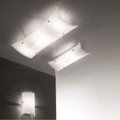 Attraktive Deckenleuchte mit teilsatiniertem Glas - 2-flg. 2x 60 Watt, 50,00 cm, 20,00 cm, 10,00 cm