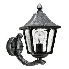 Außenwandleuchte aufrecht in Schwarz/Silber - Höhe 32cm schwarz/silber