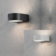 Außenwandleuchte in grau oder schwarz, Opalglas, up and down