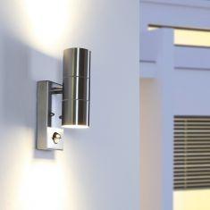 Außenwandleuchte mit Bewegungsmelder aluminiumfarbig