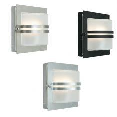 Außenwandleuchte mit gefrostetem Glas - Schwarz, Edelstahl oder verzinkt - 24,5cm x 24,5cm