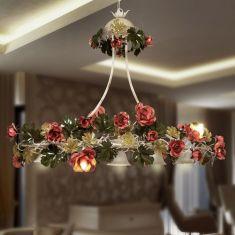Außergewöhnliche Pendelleuchte - Handarbeit aus Italien - Rosendekor - 9-flammig