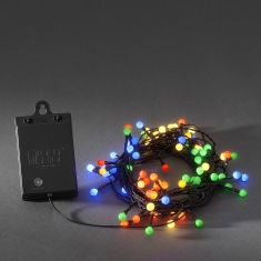 Außen LED-Globelichterkette 80 Dioden, Lichtsensor und Timer, Bunt bunt