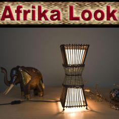 Bamboo Afrika-Look-Tischleuchte aus Rattan und Bastgeflecht, echte Handarbeit