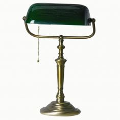 Bankerleuchte LED  Ancilla in bronze, Glas grün, 60W/E27, Zugschalter inkl 4Watt LED