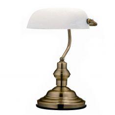 Bankers Lamp in Altmessing mit  Alabasterglas weiß mamoriert weiß/messingfarbig, Altmessing