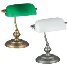 Bankerslamp mit weißem oder grünem Leuchtenglas