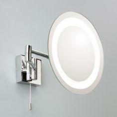 Beleuchteter Kosmetikspiegel mit Lupenfunktion, Chrom, rund
