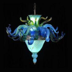 Besondere Pendelleuchte mit Strini-Glass-Art