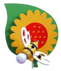 Bienenfest im Kinderzimmer -Wandleuchte Bienchen auf dem Blatt