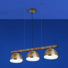 B-Leuchten 3-flammige LED-Pendelleuchte in Rost / Chrom