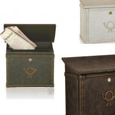 Briefkasten mit pulverbeschichteter, handpatinierter Oberfläche, 3 Farben zur Auswahl