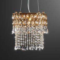 Brillante Pendelleuchte   Durchmesser 33 Cm   Blattgold   Kristallbehang