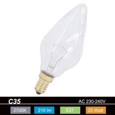 C35 Kerze E27 Flambeau klar - 25W 1x 25 Watt, 25 Watt, 210,0 Lumen