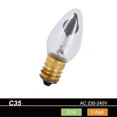 C35 Kerze, Flackerkerze klar, 3 Watt, E14