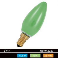 C35 Kerze, 25 Watt, E14, in grün 1x 25 Watt, grün, 17,5 Lumen