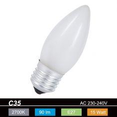 C35 Kerze  15 Watt  matt   E27 1x 15 Watt, 15 Watt, 90,0 Lumen