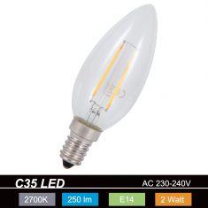C35 LED Kerze 2 Watt  E14 230V - entsprechen 25 Watt, Fadenleuchtmittel