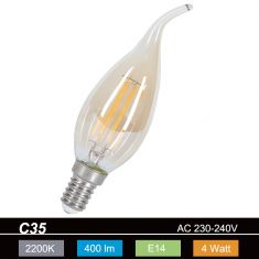 C35, E14 LED 4Watt  Kerze  GOLD Windstoß