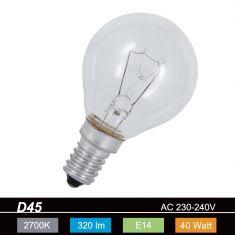 D45 E14 Tropfen klar Stoßfestes Leuchtmittel 1x 40 Watt, 40 Watt, 320,0 Lumen