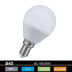D45 Tropfen LED  E14 5,2W  opal 2700K 230V 470lm 160° nicht dimmbar