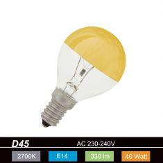 D45, E14 kopfverspiegelt gold 40 Watt