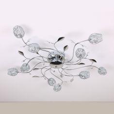 Deckenlampe mit Tulpen aus Drahtgeflech  in Chrom