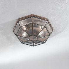 Deckenleuchte Ø 30cm in 24 Karat vergoldet oder Messing mit geschliffenem Kristallglas, 4 Varianten wählbar